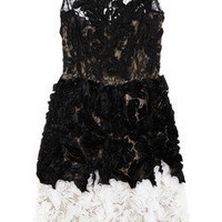 Oscar de la Renta|Chantilly lace and organza dress|NET-A-PORTER.COM