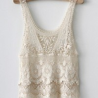 Sexy Lace Tank Top With Floral Pattern [5006]