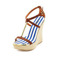 Metallic T-Strap Jute Wedge Sandal: Charlotte Russe