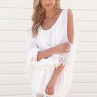 Ivory Kaftan Style Dress with Sleeve Slits & Crochet Detail