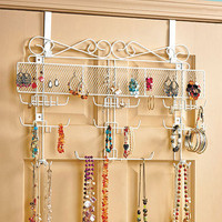 Over the Door Jewelry Organizer Valet Storage Earrings Necklaces Bracelets Rings