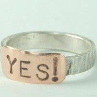 YES Ring Mixed Metal Ring Sterling Silver and Copper by ExCognito