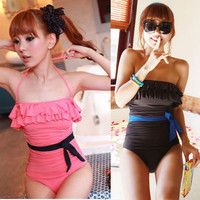 Sexy Cute Bow-knot Ruffled Padded Up Bikini One Piece Halter Monokini Swimsuit