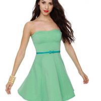 Cute Strapless Dress - Mint Dress - Pastel Green Dress - $40.00