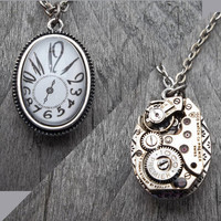 "REVERSIBLE ""The Persistence of Dali"" Clockpunk Steampunk, Stainless Steel Watch Movement  on Clock Face Pendant  on Cable Link Chain"