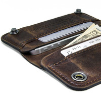 RETROMODERN aged leather iPhone wallet   DARK BROWN by portel