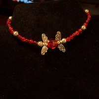 Red Crystal & Silver Wings Bracelet