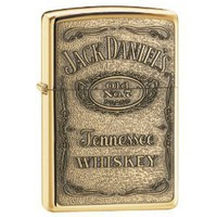 Zippo Jack Daniel&#x27;s Label Brass Emblem Pocket Lighter