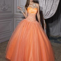 Orange Ball Gown Tulle Beads Prom Wedding Evening Quinceanera Homecoming Dresses