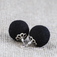 Black Felt Earrings Beadwork Elegant Chunky Felted Earrings
