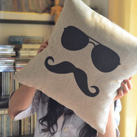 Shades &amp; Moustache Cotton and Linen Pillow