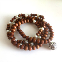 Wood &amp; Pearls Mala Yoga Prayer Bracelet