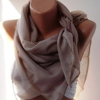 Sand Color Shawl with Lace  Turkish Shawl  Anatolians by womann