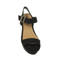 Black Dolcis Buckle Flatform Sandals at debenhams.com