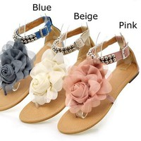 Lovely floral summer spring sandals flats shoes