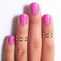 4 Above the Knuckle Rings - gold thin shiny rings - set of 4 stack midi rings