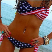 2 pcs Stars and Stripes Bikini Swimsuit Set