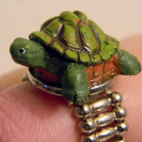 Turtle Ring Tortoise Ring. Statement Ring. Silver Stretch Band.
