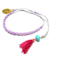 Light purple lavender woven friendship bracelets - gold plated medallion turquoise bead pink colorful floss tassel anthropologie inspired