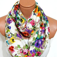 multicolored flower Infinity Scarf,nomad scarf,,Loop Scarf,Circle Scarf, Multi-color cotton fabric Scarf,Cowl Scarf, Eternity Scarf