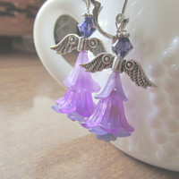 Purple Angel Earrings, Flower Angel Earrings