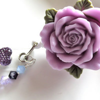 Lavender Rose Badge Reel, Flower Badge Reel