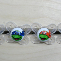 Teenage Mutant Ninja Turtle Hand-painted Pacifier Gift Set in clear MAM Newborn by PiquantDesigns