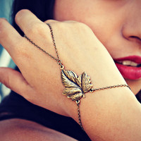 leaf slave bracelet, bracelet ring, body chains, body jewelry