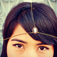 cameo chain head piece, chain headband, cameo headband, metal headband, unique headband