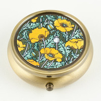 Pill Box or Mint Box Golden Yellow Poppies by DecorativeDesignWKS