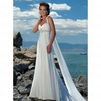 Beach Sweetheart Beaded Bodice White Chiffon Wedding Dress Style JD1315
