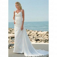 Pretty Sweetheart Sleeveless Satin White Wedding Dress CWWD0010
