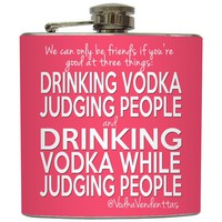 Liquid Courage Flasks: &quot;Drinking Vodka While Judging People&quot; - Vodka Vendettas Flask