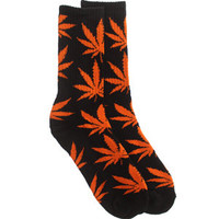 HUF Plantlife Crew Socks (black / orange) Socks HUFPLOC-BKO | PickYourShoes.com