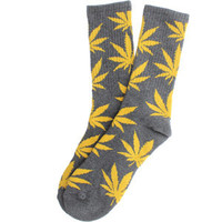 HUF Plantlife Crew Socks (charcoal / yellow) Accessories HUFUG2432PCHY | PickYourShoes.com