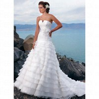 Beach A-line Strapless Ruched Bodice White Organza Wedding Dress Style JD1386