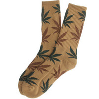 HUF Plantlife Crew Socks (tobacco / green) Accessories HUFUG2432PTBG | PickYourShoes.com