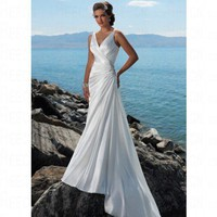 Beach A-line V-neck Beaded Motif White Satin Wedding Dress Style RD1114