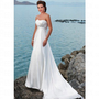 Beach A-line Strapless Ruched Bodice White Satin Wedding Dress Style RD1122