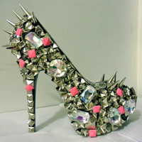 Pink Studded Out Pumps w/ Spikes Nicki Minaj by uniquezaccess