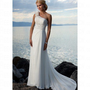 Beach One Shoulder with Handmade Flowers Ivory Chiffon Wedding Dress Style VD7118