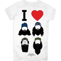 AUTHENTIC DUCK DYNASTY I LOVE BEARDS HEART GIRLS JUNIORS JRS SOA T SHIRT S
