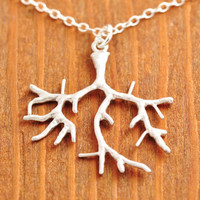 Silver Coral Branch Necklace - coral necklace, silver tree necklace, silver branch necklace, ocean necklace