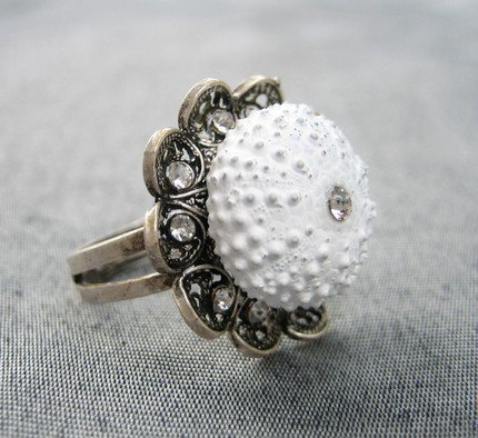 Sea Urchin Collection  White Flower Ring by staroftheeast on Etsy