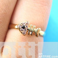 Adjustable Fish Bone Sea Animal Rhinestone Ring in Rose Gold