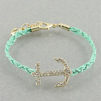 Mint Crystal Anchor Bracelet