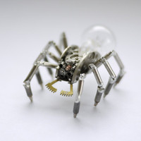Mechanical Spider Sculpture No 24 Recycled Watch Parts Clockwork Arachnid Figurine Stems Lightbulb Arthropod A Mechanical Mind Gershenson
