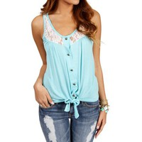 Aqua Lace Sleeveless Tie Front Top