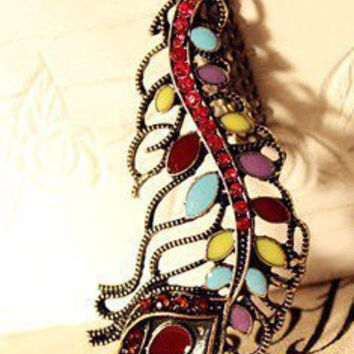 Vintage Multicolor Peacock Feather Long Chain Pendant Necklace Gofavor