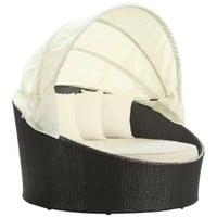 LexMod Siesta Outdoor Wicker Patio Canopy Bed in Espresso with White Cushions: Patio, Lawn &amp; Garden